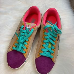 NEW PUMA Womens Vikky Suede Multicolored Shoes